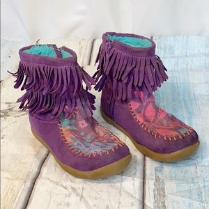 Chooze Purple Fringe Booties 9 Kids